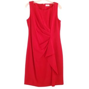 Calvin Klein Sleeveless Red Ruffle Dress Size 8